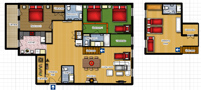 Duplex Riverview Apartment Floor plan